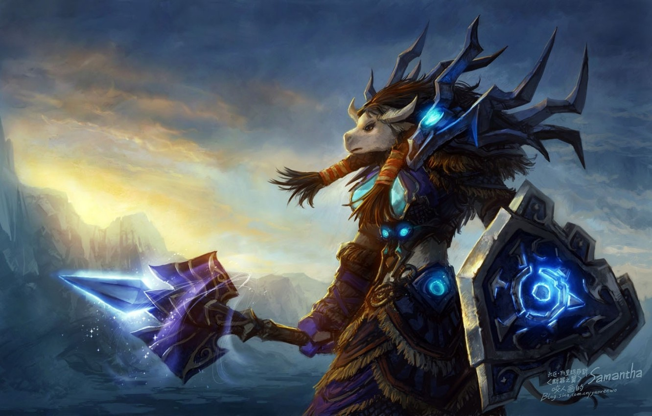 Wallpaper Wow World Of Warcraft Tauren Shaman Horde