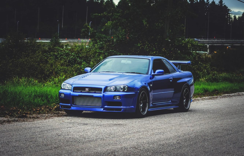 Photo wallpaper Nissan, Blue, Skyline, Road, GT-R34