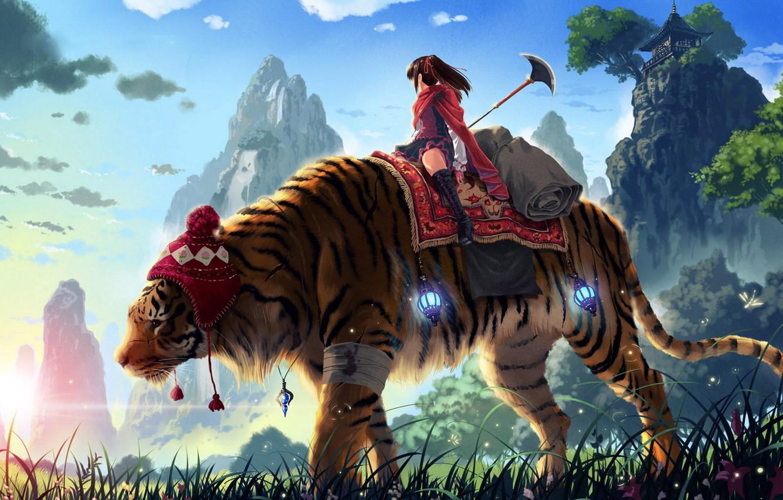 Photo wallpaper grass, girl, mountains, tiger, spear, kankurou