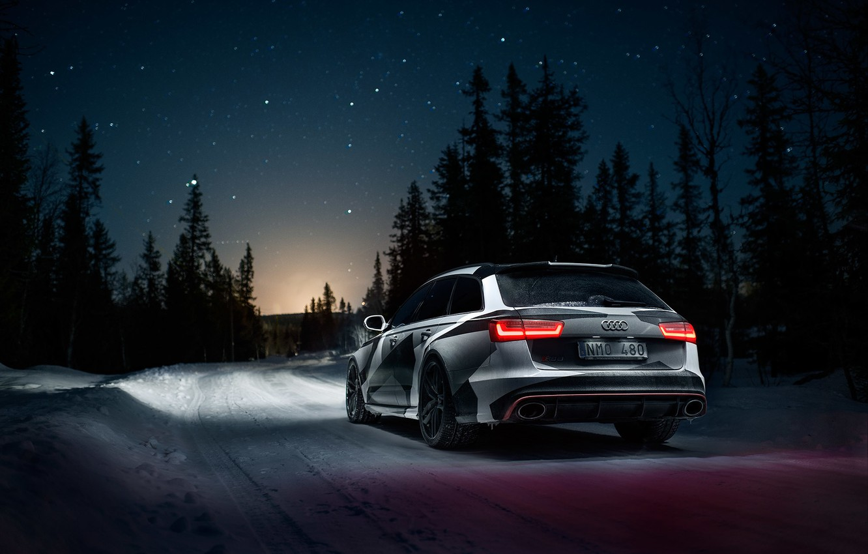 Photo wallpaper Audi, Road, Night, Snow, Forest, Stars, Quattro, Rs6