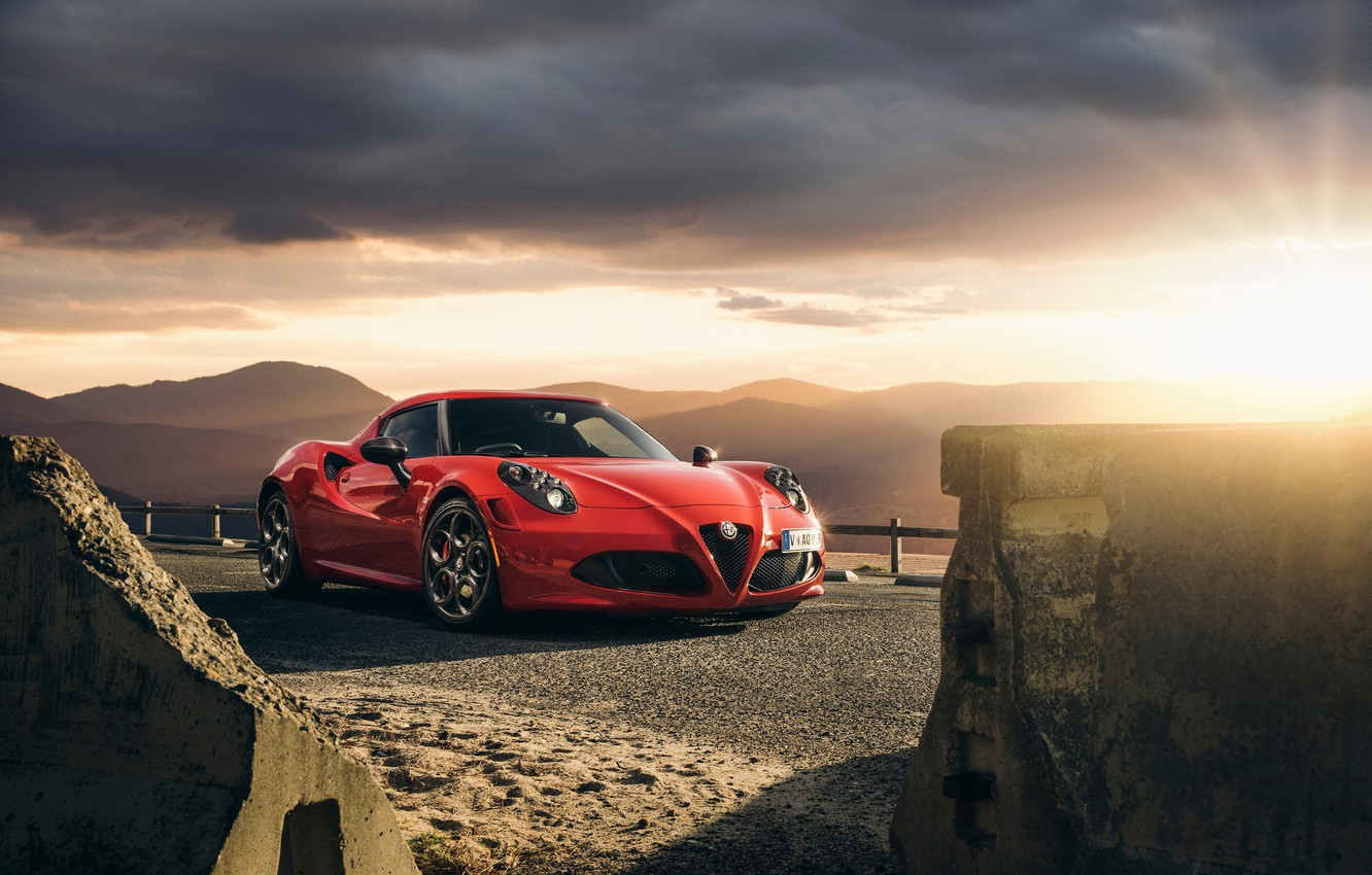 Photo wallpaper Red, Car, Front, Sunset, Sport, Launch Edition, 2015, Alfa-Romeo