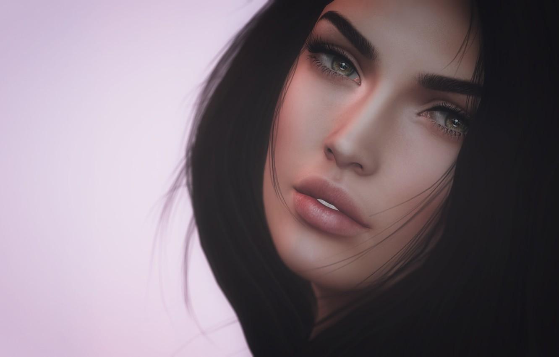 Photo wallpaper girl, face, hair, portrait, beauty