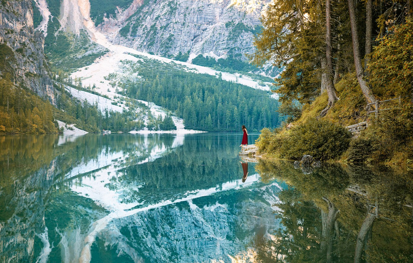Photo wallpaper girl, trees, mountains, reflection, river, One step ahead