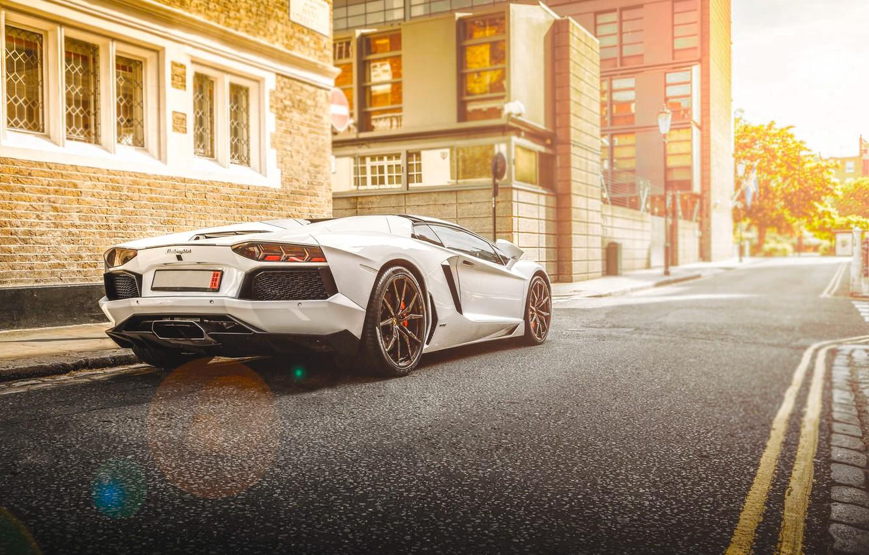 Photo wallpaper Lamborghini, City, White, Street, LP700-4, Aventador, Road, Supercar, Rear, Beam