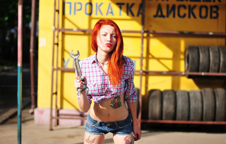 Photo wallpaper girl, shorts, key, tattoo, photographer, red, girl, photography, photographer, Elena Umrihina