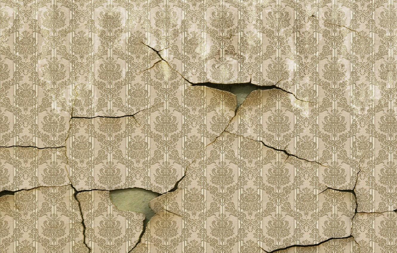 Photo wallpaper wall, Wallpaper, cracked