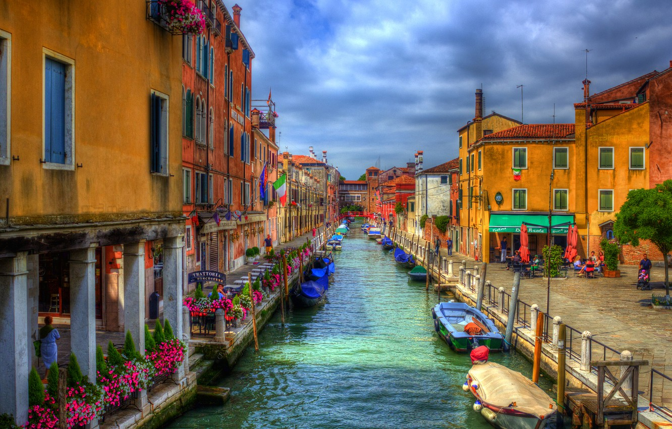 Photo wallpaper the sky, clouds, boat, home, hdr, Italy, Venice, channel