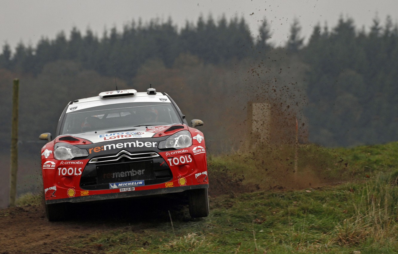 Photo wallpaper Red, Auto, Turn, The hood, Skid, Citroen, WRC, Rally, The front, ds3