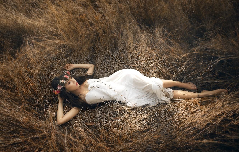 Photo wallpaper grass, pose, body, Girl, dress, Asian
