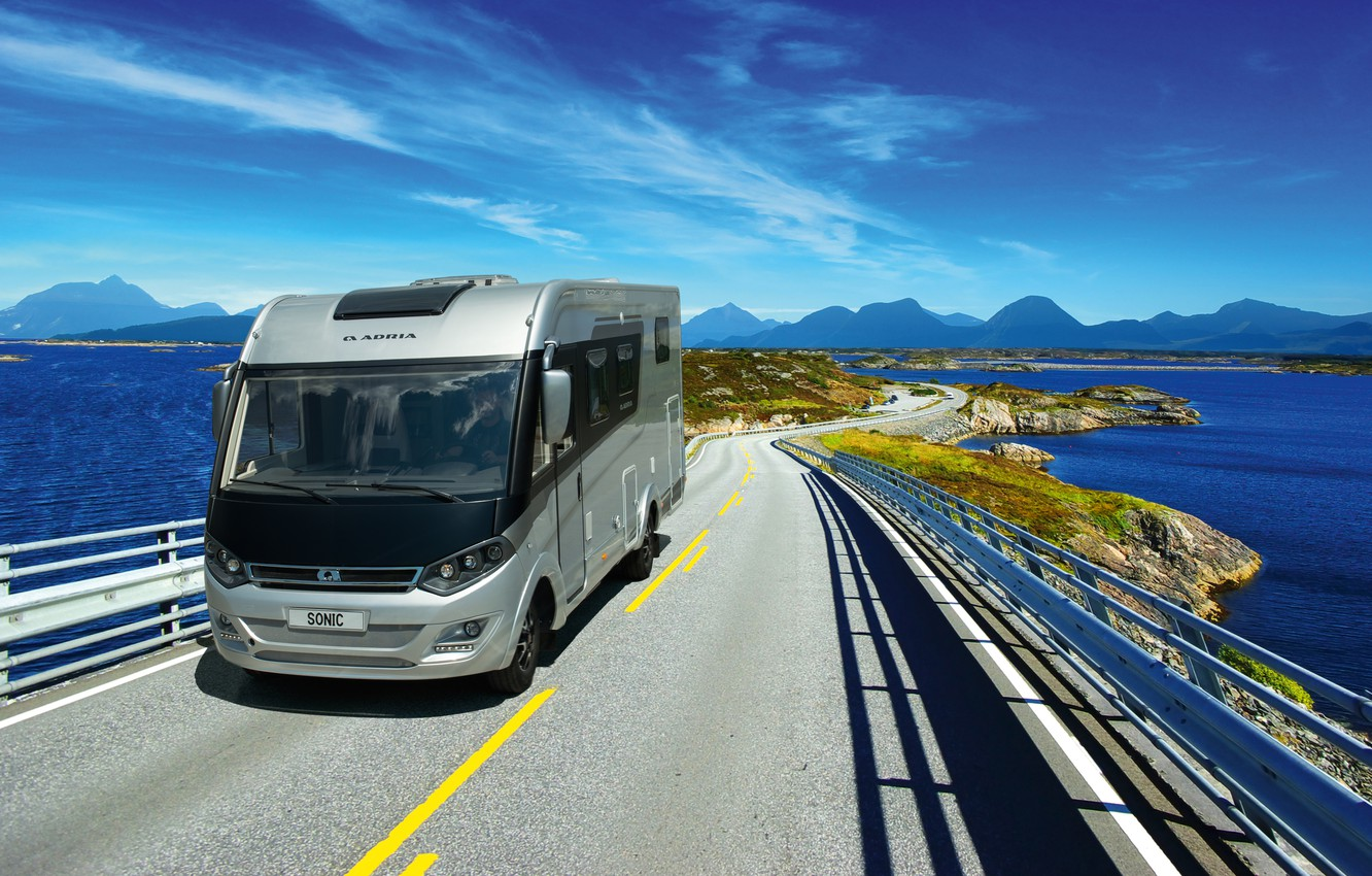 Photo wallpaper road, landscape, the ocean, transport, van, move with a mobile, Adria