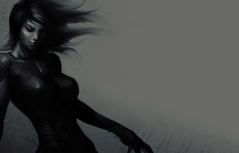 Photo wallpaper Girl, art, black dress