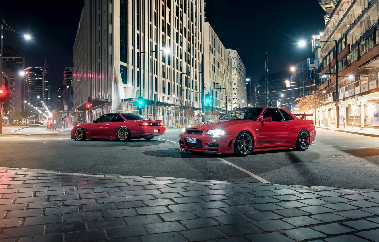 Photo wallpaper Nissan, Red, Cars, Front, Sport, Rear, Skyline R34, Silvia S14