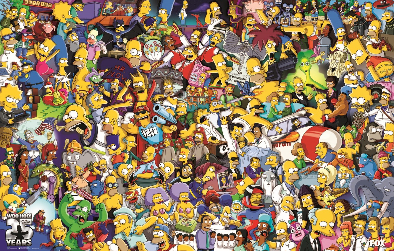 Photo wallpaper Poster, The Simpsons, 25 Years, The cartoon characters, 25th Anniversary, The simpsons, Poster