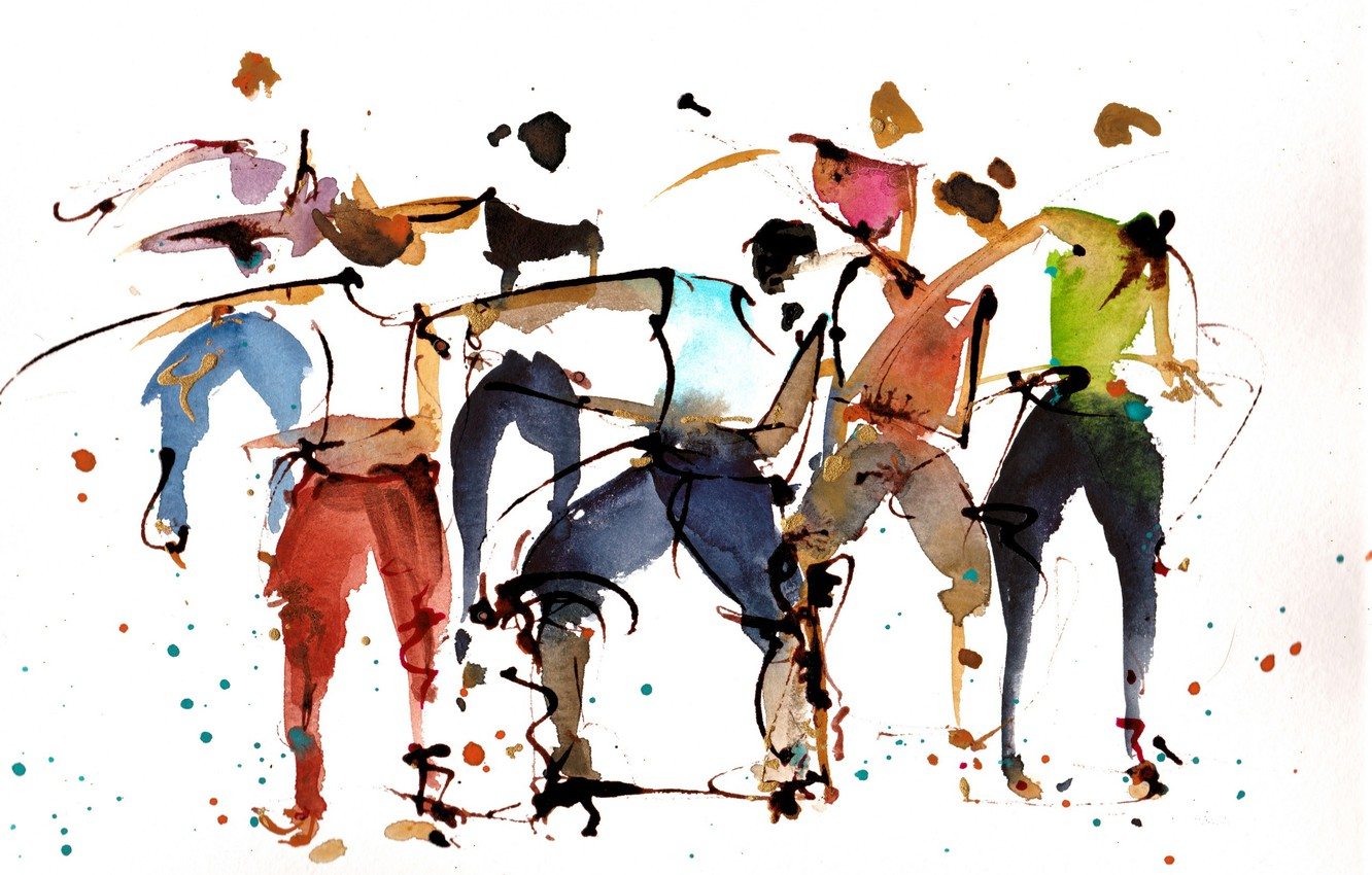 Photo wallpaper background, people, picture, watercolor