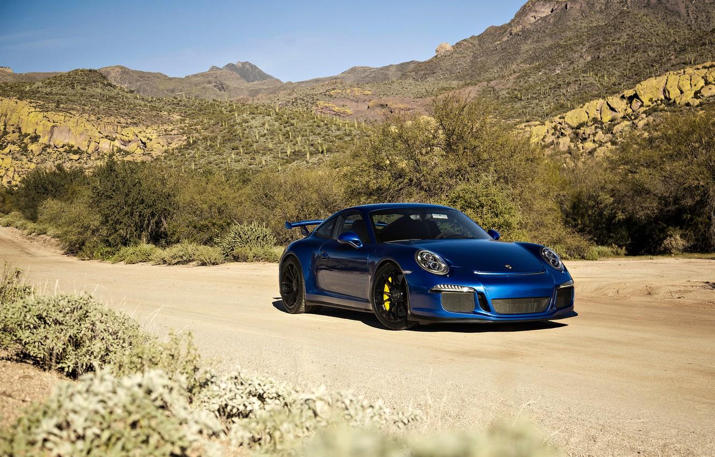 Photo wallpaper 911, Porsche, supercar, Porsche, blue, GT3