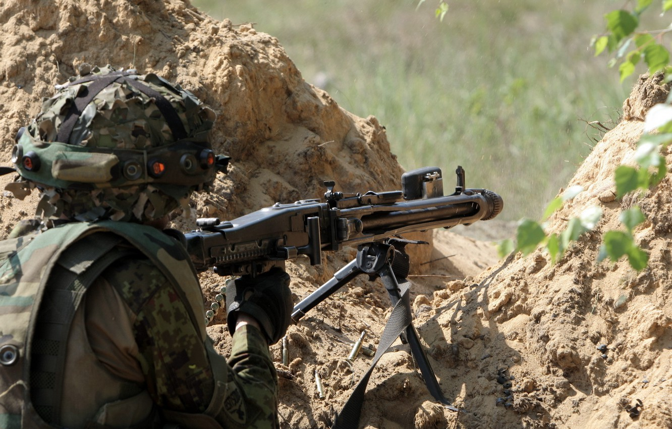 Photo wallpaper weapons, soldiers, shooting, Estonian Army