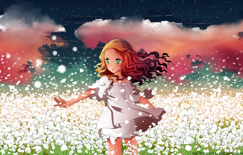Photo wallpaper field, the sky, girl, stars, clouds, flowers, anime, petals, art, h2so4, kuzakawe maron