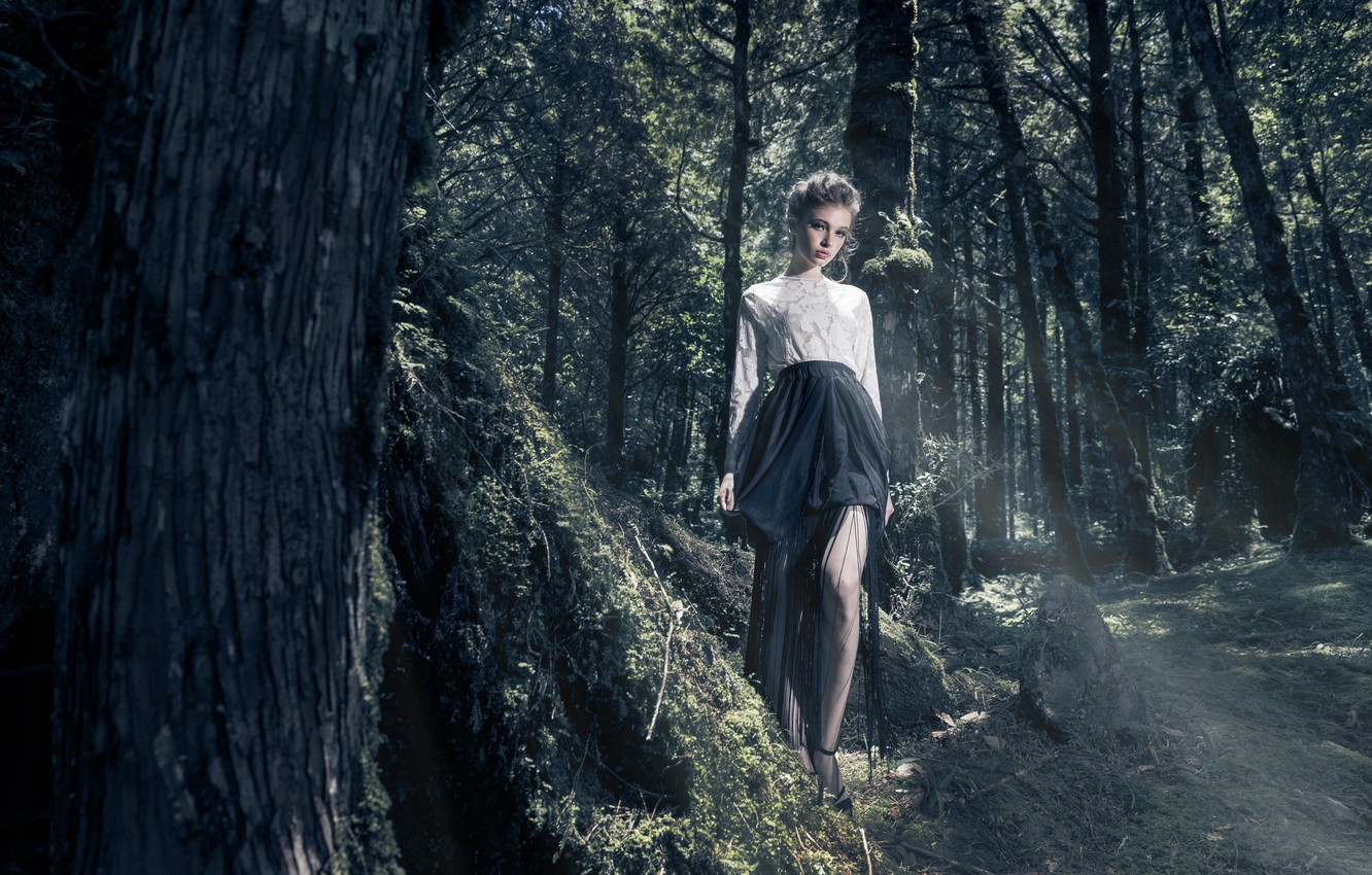 Photo wallpaper forest, girl, style, skirt, in the woods