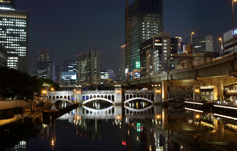 Photo wallpaper water, night, bridge, lights, reflection, home, skyscrapers, Japan, channel, Fukuoka