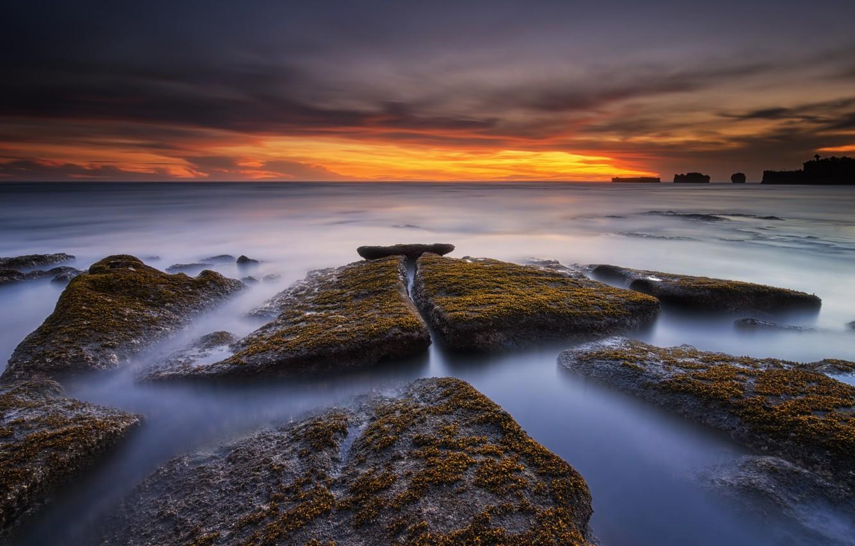 Photo wallpaper landscape, sunset, the ocean, rocks, shore
