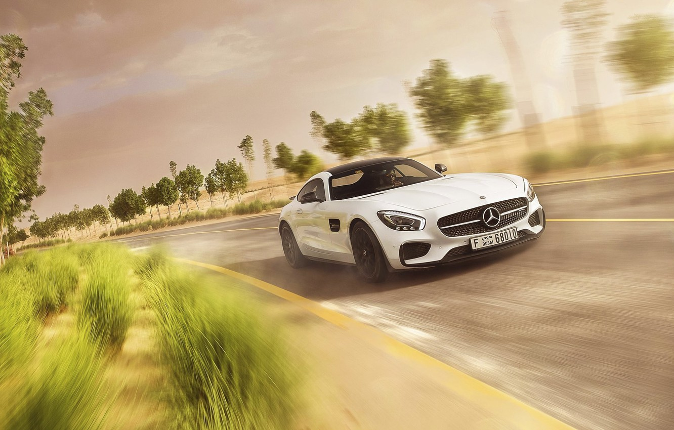 Photo wallpaper Mercedes-Benz, Speed, AMG, White, Road, Supercar, GT