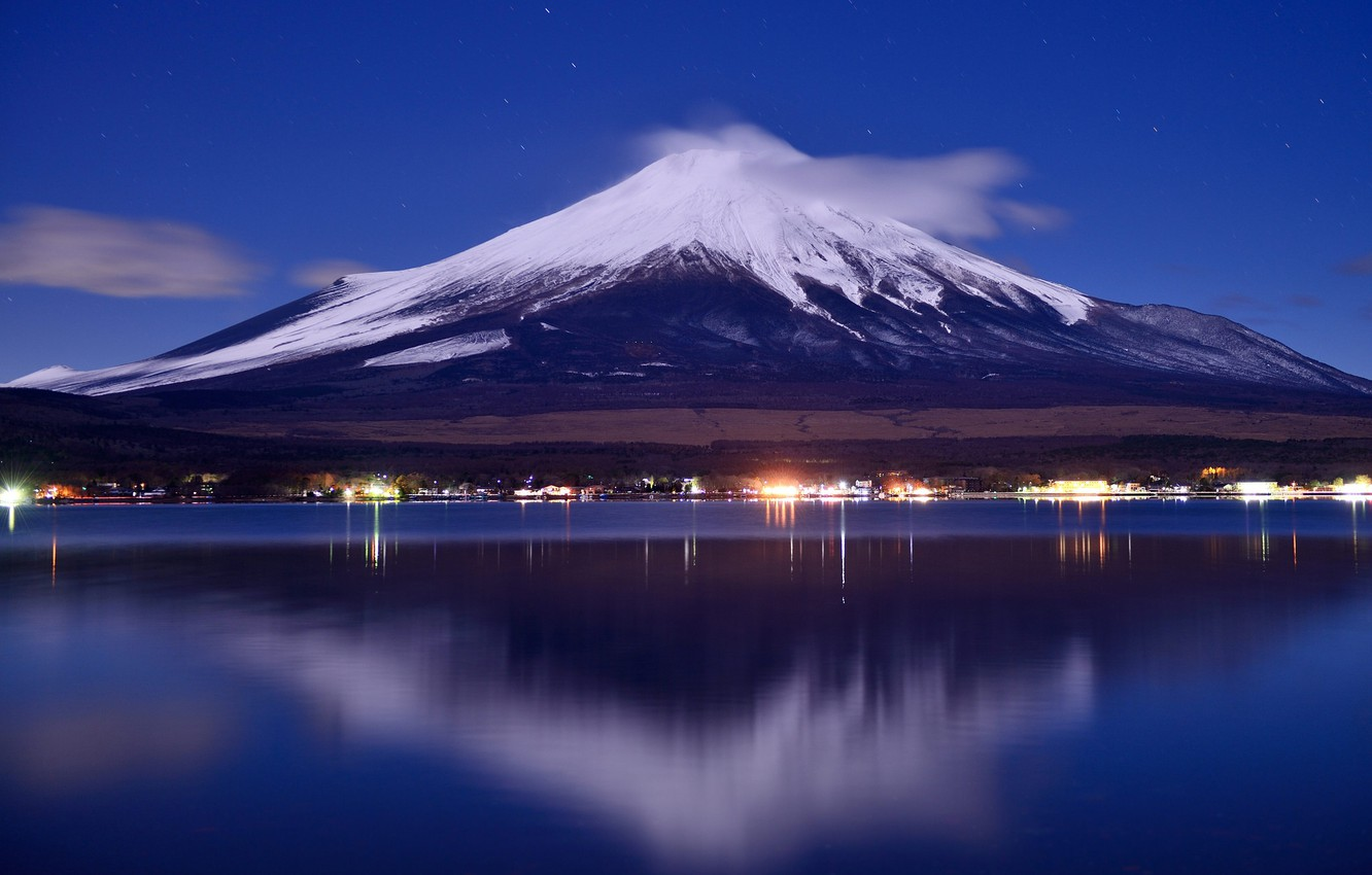 Wallpaper The Sky Night Lights Lake Japan Mount Fuji