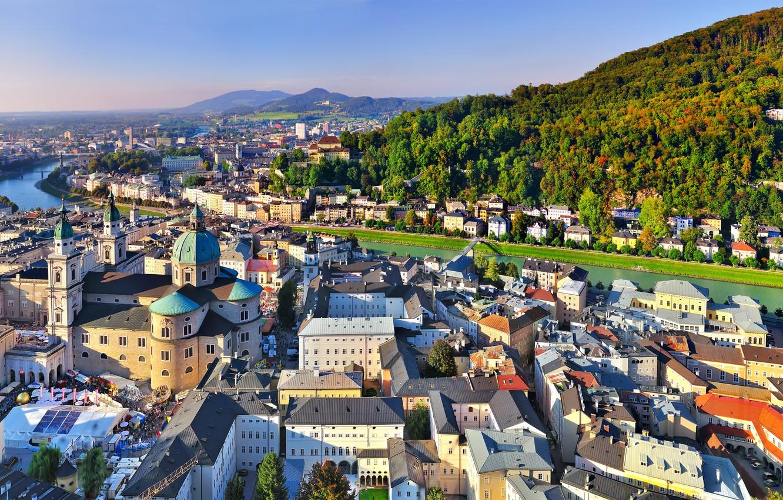 Photo wallpaper Home, Mountains, The city, River, Austria, panorama, Salzburg