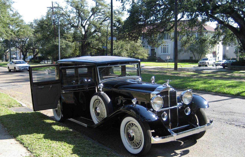 Photo wallpaper photo, Black, Retro, Car, 1932, Metallic, Packard 1