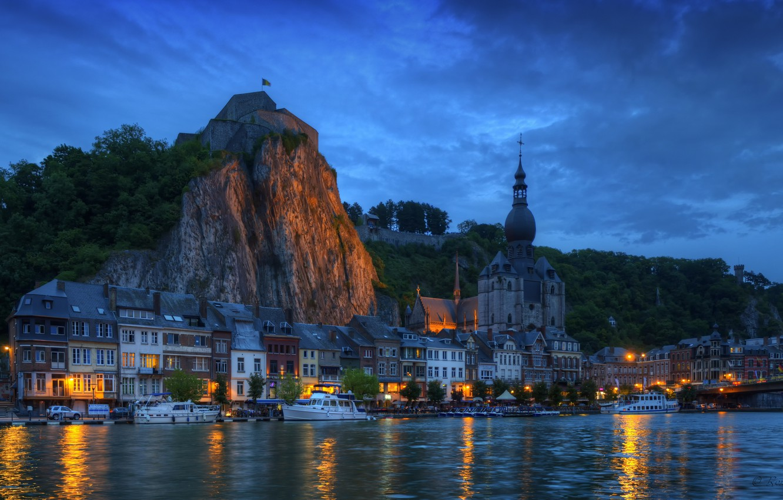 Photo wallpaper night, bridge, lights, rock, river, home, yacht, boat, Belgium, Belgium, Wallonia, Dinant, Wallonia