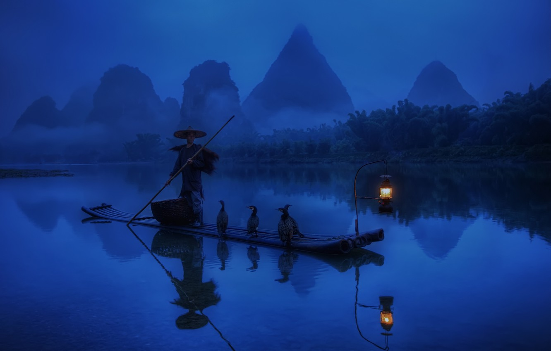 Photo wallpaper forest, water, light, reflection, river, boat, China, fisherman, morning, lantern, blue background, cormorants