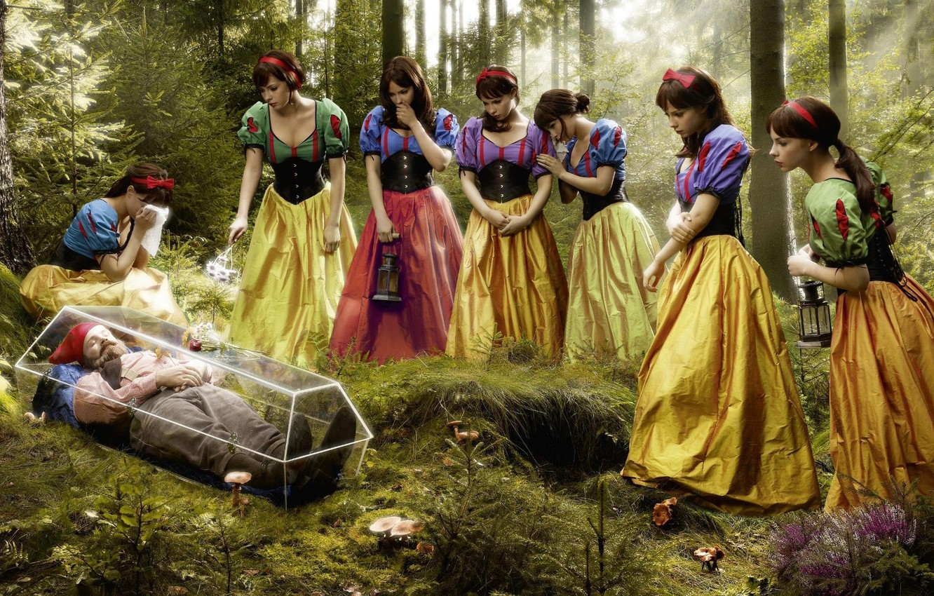 Photo wallpaper sadness, forest, humor, on the contrary, And 7 dwarf snow white