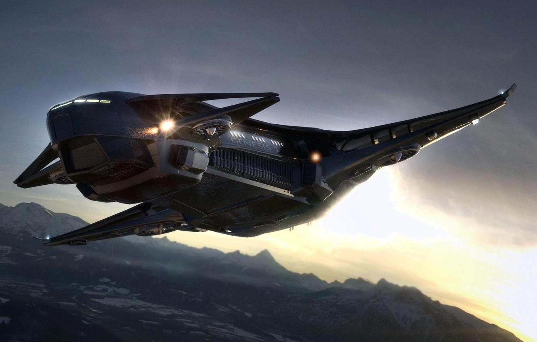 Photo wallpaper surface, flight, planet, spaceship