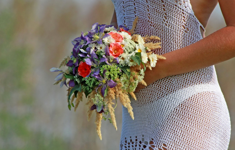 Photo wallpaper girl, bouquet, dress