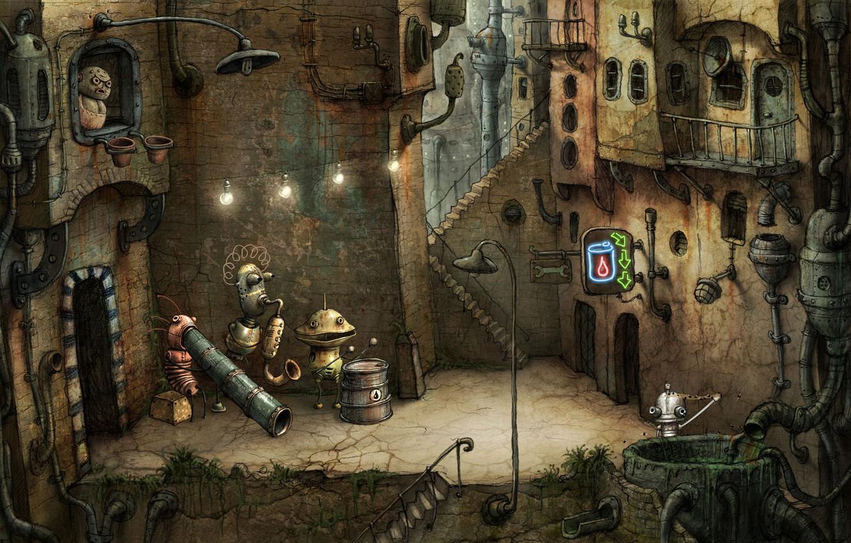 Photo wallpaper the city, robot, Machinarium