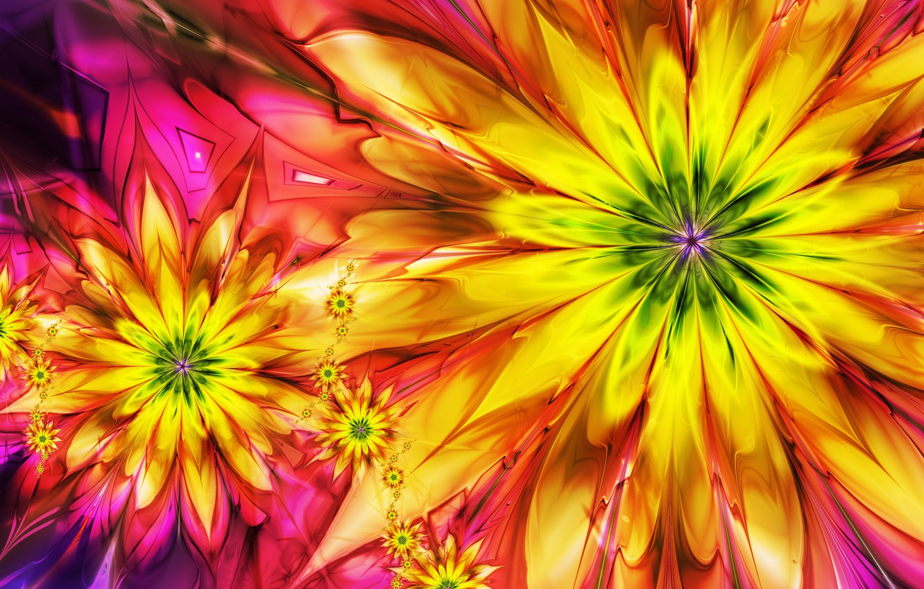 Photo wallpaper flowers, abstraction, bright, colorful
