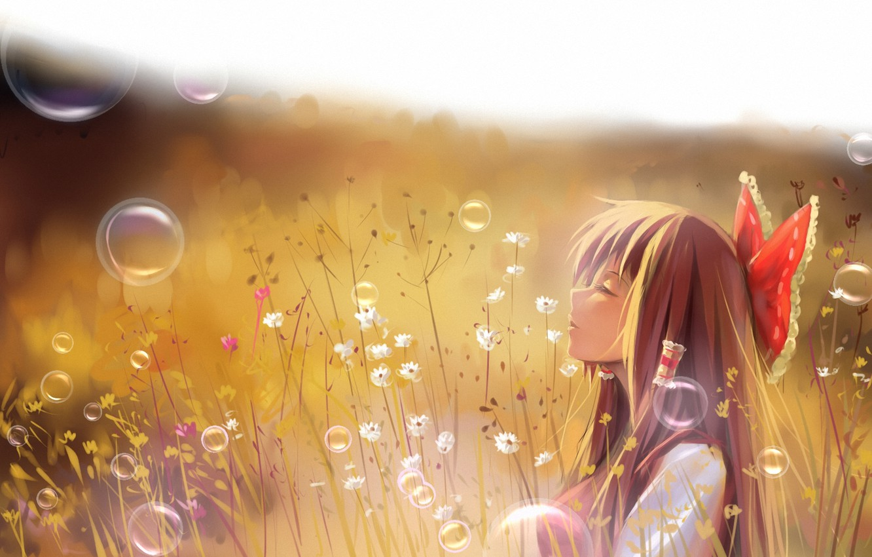 Photo wallpaper field, grass, girl, bubbles, art, profile, touhou, hakurei reimu, a luo