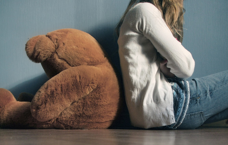 Photo wallpaper Girl, bear, plush