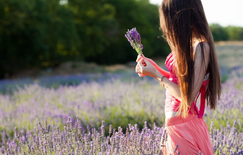 Photo wallpaper field, purple, leaves, girl, trees, flowers, nature, background, mood, hands, brunette, widescreen, full screen, HD …
