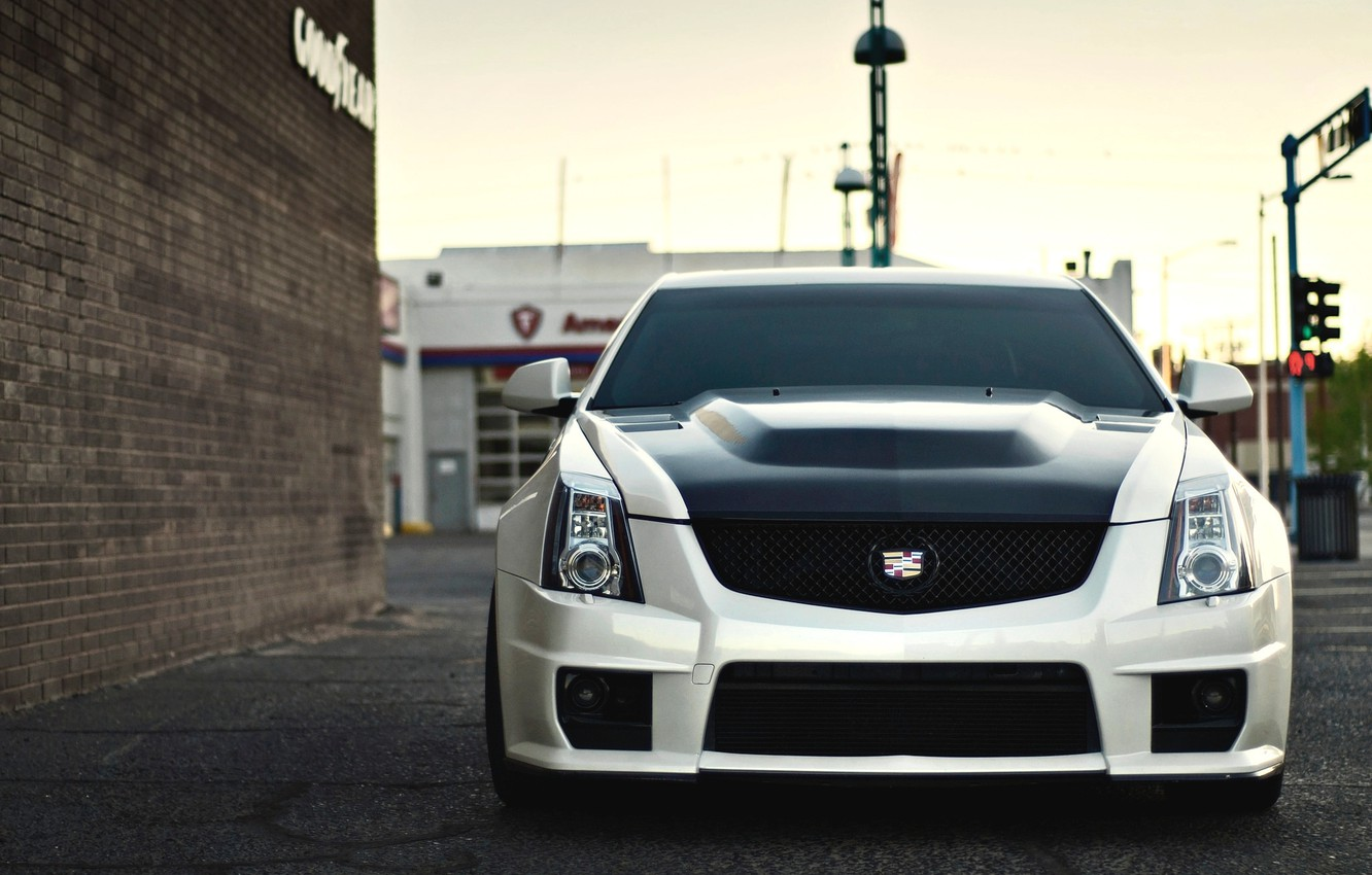 Photo wallpaper Cadillac, before, white, CTS-V, front, Cadillac. white