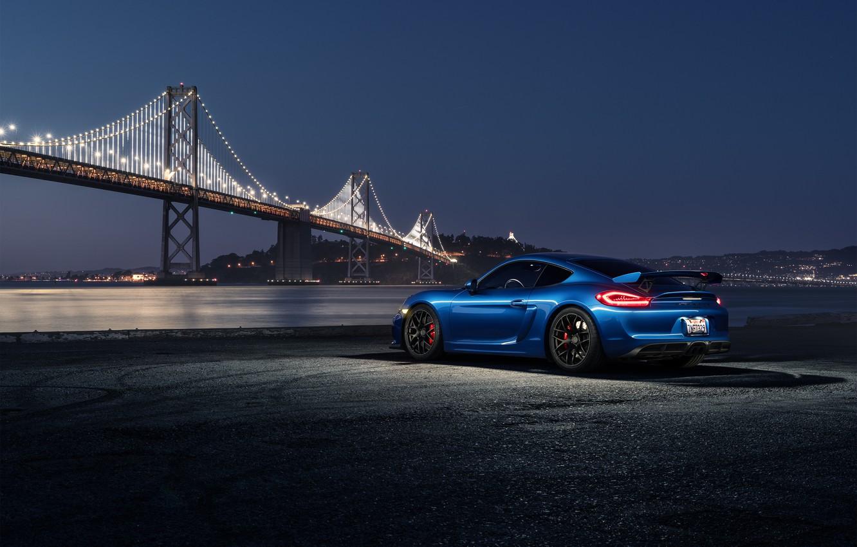 Photo wallpaper Porsche, Dark, Cayman, Car, Blue, Bridge, Night, Sport, GT4, Rear