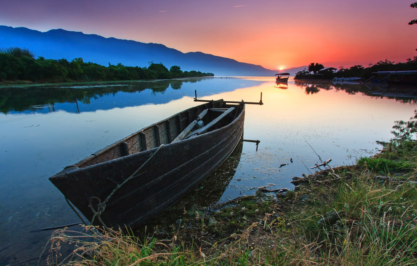 Photo wallpaper nature, pond, boat