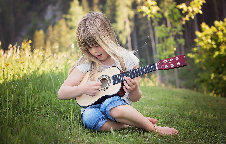 Photo wallpaper summer, grass, nature, guitar, girl, child