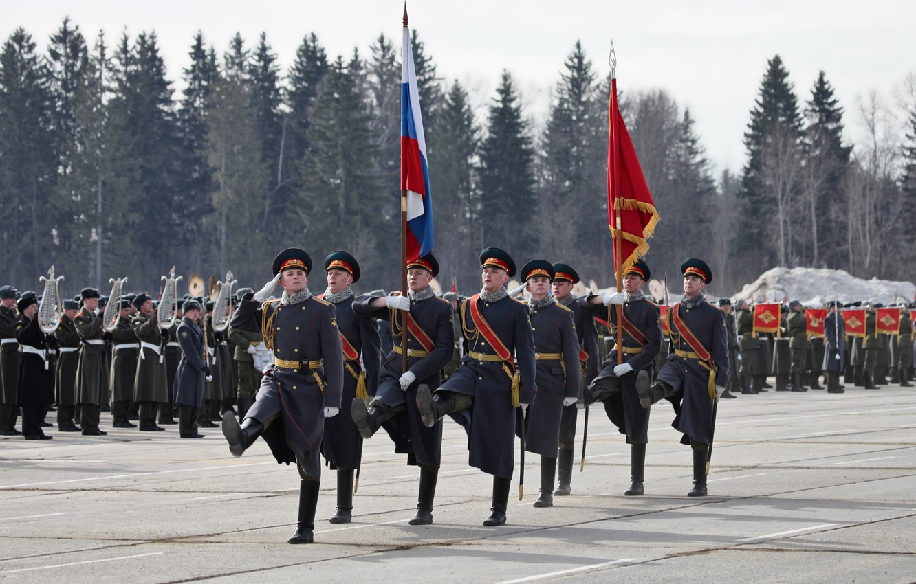 Photo wallpaper flag, Russia, military, March, honor, Parade