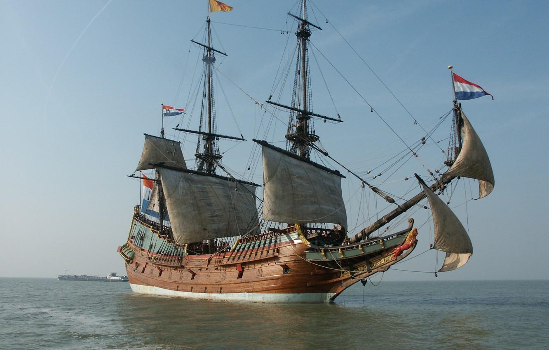 Photo wallpaper old, wooden, sailing ship, Dutch East India Company ship, 17th century, Replica of the BATAVIA