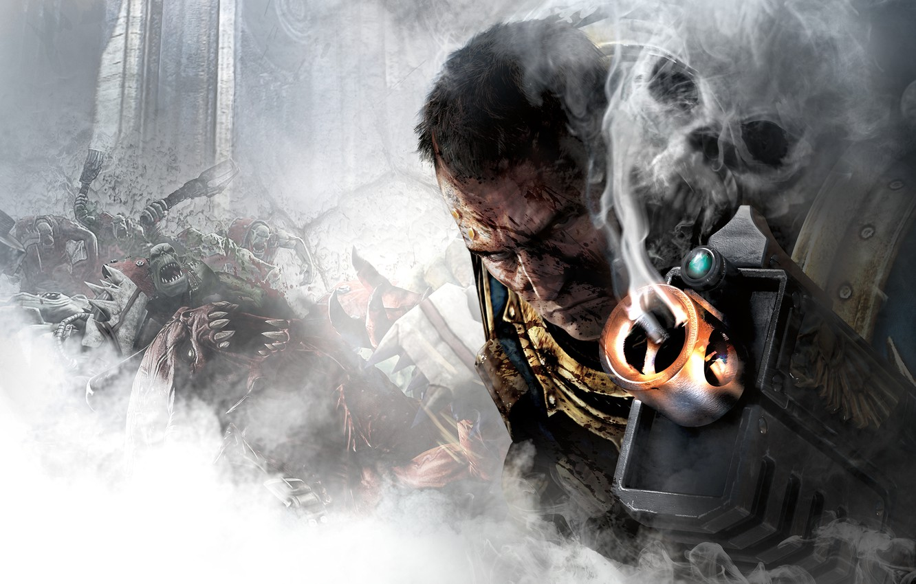 Photo wallpaper look, weapons, blood, smoke, skull, the barrel, Captain, armor, orcs, THQ, Warhammer 40, NeoGAF, Captain, …