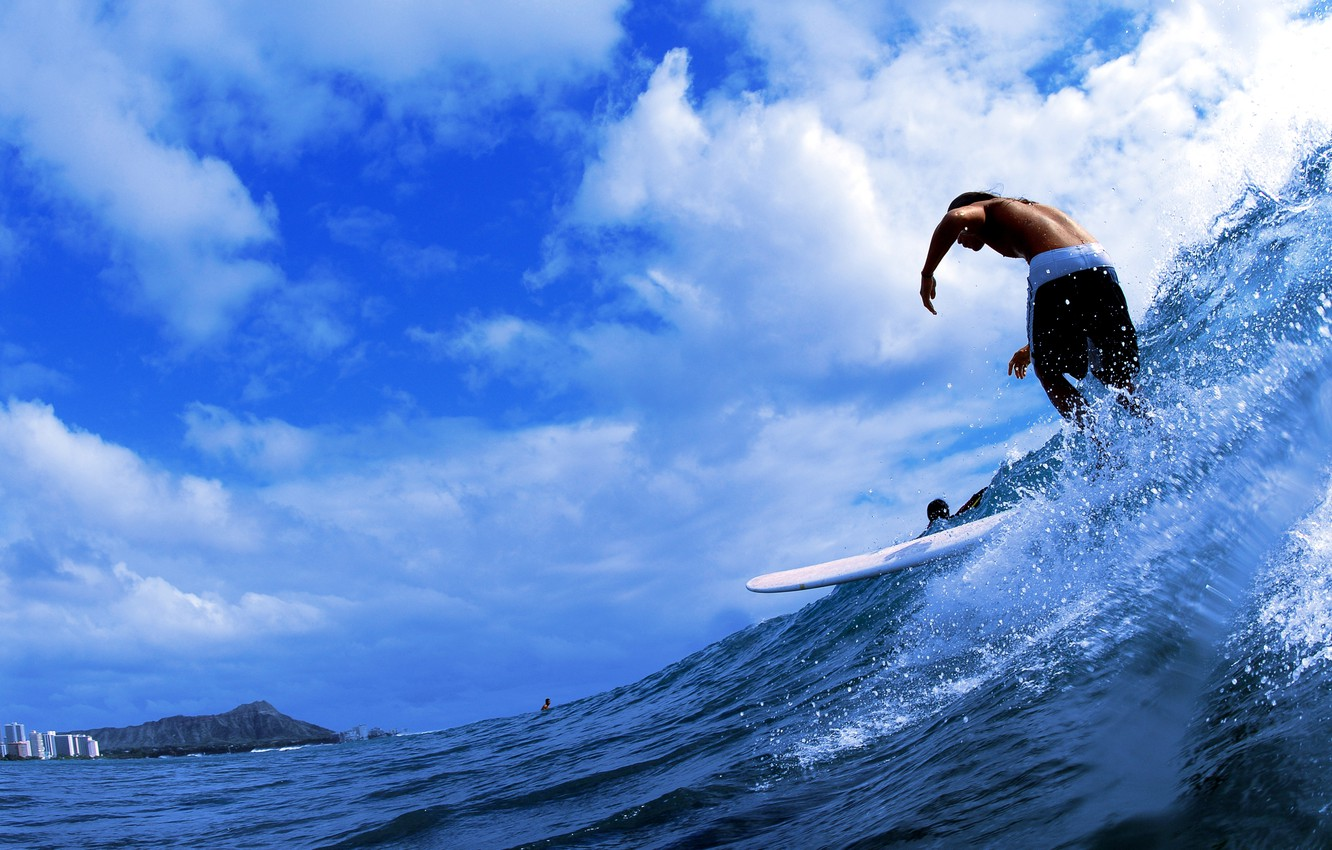 Photo wallpaper sea, clouds, squirt, wave, guy, surfing