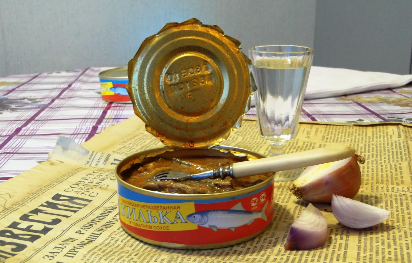 Photo wallpaper table, food, newspaper, vodka, canned, sanctions