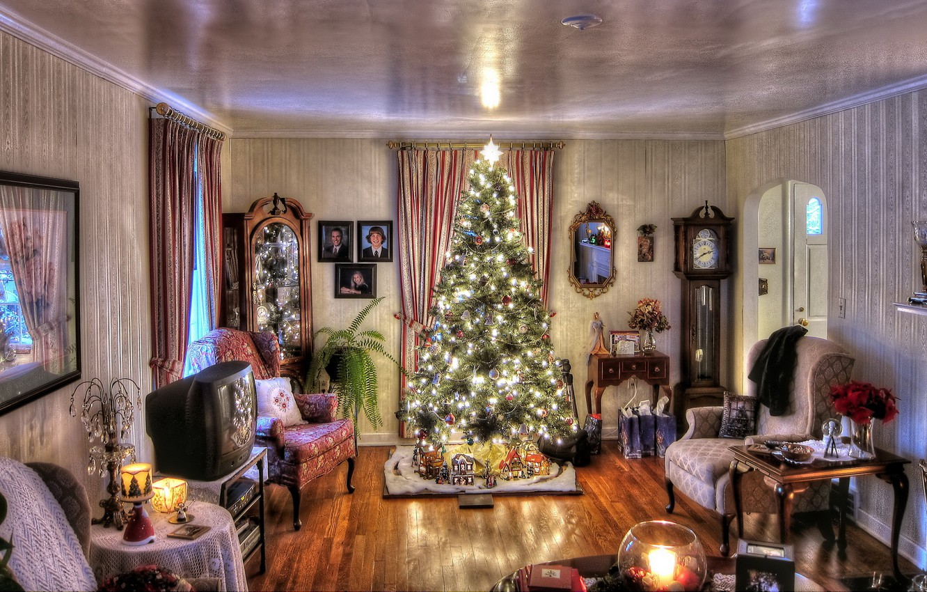Photo wallpaper decoration, lights, house, room, holiday, toys, furniture, watch, interior, candles, garland, Tree, antique
