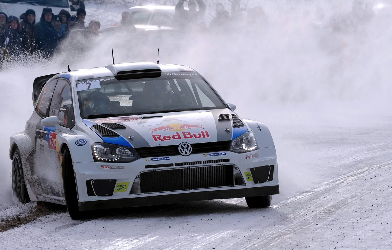 Photo wallpaper Winter, Auto, White, Snow, Sport, Volkswagen, Machine, Logo, The hood, Skid, Lights, Red Bull, WRC, …