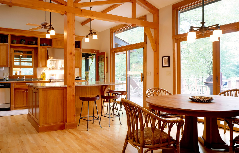 Photo wallpaper comfort, house, Wallpaper, interior, kitchen, wooden, dining room